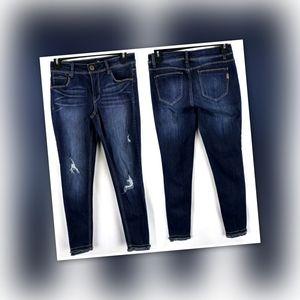 1822 Distressed Raw Hem Skinny Jeans